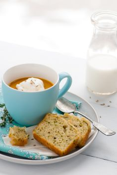Cup of Soup with Zucchini gruyere bread