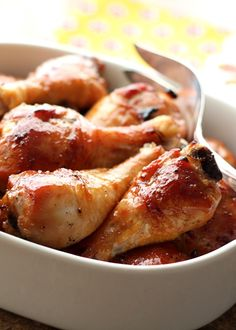 Honey Soy Chicken ~ sweet, glazed, oven-roasted chicken that is incredibly tender. Stir together the marinade, pour it over the chicken and marinate it for anywhere from 2 to 24 hours until you are ready to bake it. (Simple 6 Ingredient Recipe!)