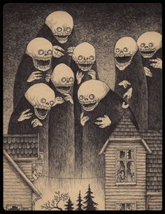 b/w hatching creepy House skull ghost Girl with the Skeleton Hand