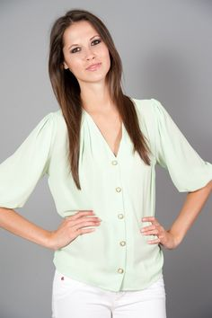 EVERLY: Southern Belle Blouse-Mint