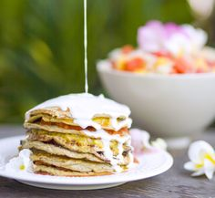 Coconut and Banana Pancake Cake-Gluten free