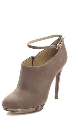 gray ankle strap booties <3