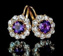 Amethyst and diamond cluster gold earrings for sale