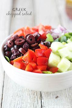 chopped salads, healthy salads, greek recipes, greek chop, appl salad, soup recip, chicken salad recipes, chopped greek salad, chop salad