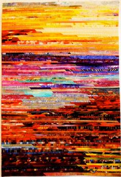 strips - sunrise. Abstract landscape art quilt