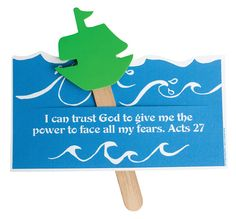 """Stormy Ships (217-335) from Guildcraft Arts & Crafts! This ship reminds your VBS family to trust God and have sound judgment, because He has the power to see us through the stormiest times in our lives! Includes preprinted  and preslit cardboard bases, 3"""" foam ships (assorted colors) Glue DotsTM  and jumbo craft sticks. 8"""" x 4"""".  *could do the tortoise and hare on sticks and make the background a race?*AC"""