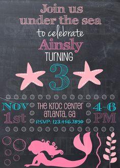 Mermaid Invitation - Mermaid Birthday Party - Under the Sea Invitation - Under the Sea Birthday Party