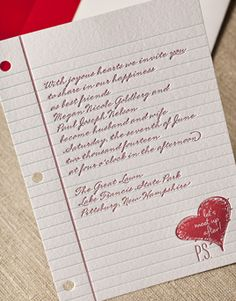 Affordable Wedding Invitations Love Note