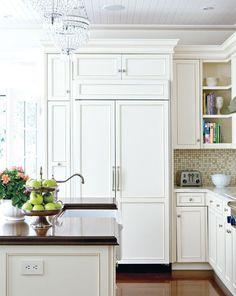 white kitchen, wood island countertop