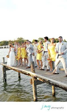 Yellow and Gray wedding, love the different styles of yellow bridesmaid dresses so adorable!