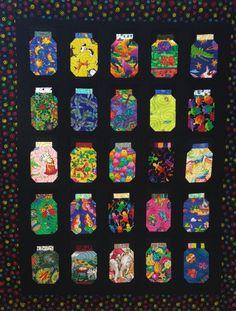 I Spy quilt full of novelty Jars bright fun by morethanjustquilts