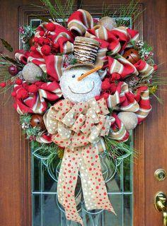 STRIPED BURLAP SNOWMAN Christmas Wreath by decoglitz on Etsy