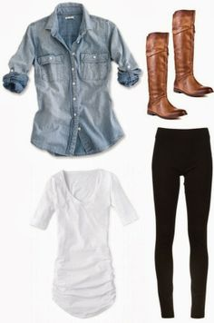 Pretty jeans shirt with front pockets, long booties and black leggings white jean, cute summer outfits polyvore, casual white outfit, denim shirts, white convers outfit, outfits with convers, casual fashion style, cute polyvore outfits, casual outfits on summer