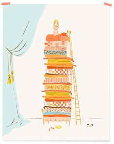 Heather Ross (illustrator and textile designer extraordinaire), has done it yet again with her Limited Edition Cranky Princess Art Prints. #art #princess #princess_and_the_pea #fairytales #illustration