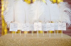 stripes, shabby chic, ruffles, Spring, romantic , glamorous , cards, decor, details, escort, feathers, gold, reception, yellow, black, wedding, feather