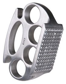 Brass knuckles meat tenderizer.