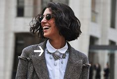 fashion, statement necklaces, shirts, yasmin sewel, street style, blous, collar, style icons, bob hairstyl