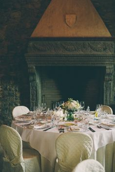 Wedding reception in 12th century banqueting hall, Tuscany