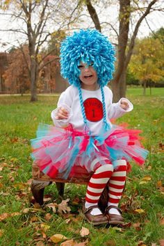 Dr. Seuss Thing 1 and Thing 2 Tutu Outfits - Perfect for Twins - Great Halloween Costumes or Birthday Outfits. $89.00, via Etsy.