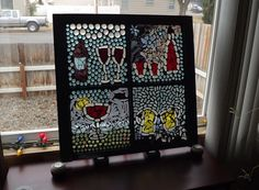 Mosaic Window Cheers by PiecesofhomeMosaics on Etsy, $275.00