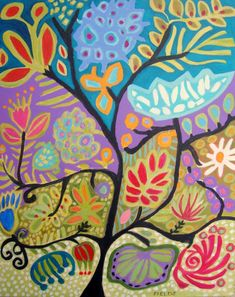 Art Decorative Large Original Painting Bohemian Cottage Tree of Life Karen Fields Abstract Flowers 24 x 30 x1.5 Deep Gallery Wrap Canvas