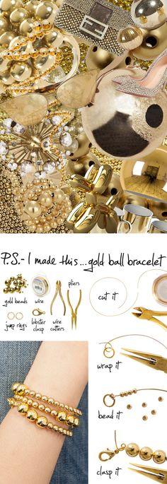 P.S.-I made this...Gold Ball Bracelet inspired by @Paula manc manc manc Mendoza #PSIMADETHIS #DIY