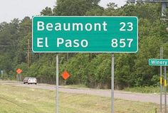 If you EVER wanted to know how big Texas is...here ya go.  This is the sign just across the Louisiana border on I-10.