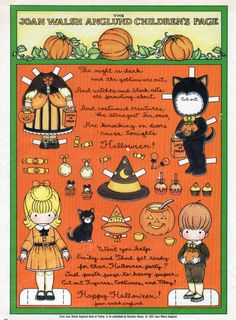anglund halloween, joan walsh anglund paper dolls, boo, halloween paper, joan walch, paperdol, masquerad halloweeni, halloween children, papers