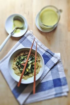Rainbow Chard Quinoa Bowls with Curry Coconut Broth | With Food + Love