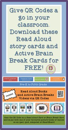 FREE - Support your students journey in learning to read  with QR code Read Aloud Cards for your listening post centers, and when they have the wriggles after reading, enjoy a movement break with Dancing Brain Break QR code cards.  Perfect for independent learners and whole class from Preschool up.     http://www.teacherspayteachers.com/Store/Sarah-Anne  #free #brainbreaks #tpt #readaloud #sarahanne