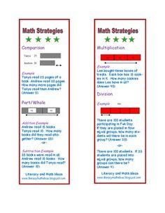 Common Core Aligned Math Bookmarks to help students with word problems.