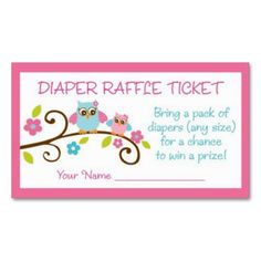 Baby Girl Owl Diaper Raffle Tickets Business Card