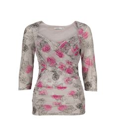 Ruched Sweetheart Neckline Top, Grey/Hot Pink Print - Ricki's