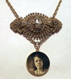 Vintage Rhinestone and Antique Photograph Assemblage Necklace - Hollywood Dreamer by TheRabbitHole