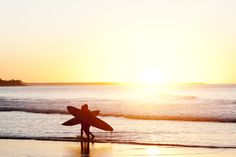 Surfing at sunset... can't get better than that!