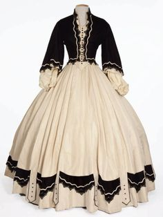 Black and white Victorian era dress -- looks early 1850s? Might be a modern costume, I can't find any more info on this lovely piece.