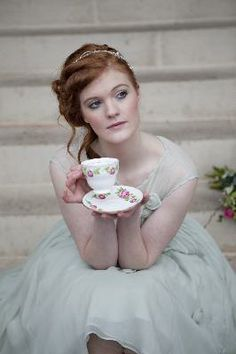 pretty pale dress and a spot of tea = bliss joann fleme, wedding dressses, tea time, tea parti, dress color, style, dresses, vintage tea party fashion, dress idea