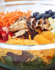"The ""Skinny Mom Skinny Grilled Fruit and Chicken Salad"" is one of the best salads I have ever had! It is a fantastic mixture of fresh fruit, chicken, and dressing!"
