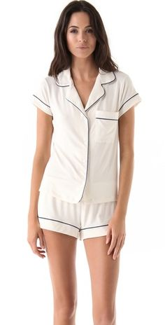 Eberjey Gisele PJ Set with contrast piping in comfy jersey