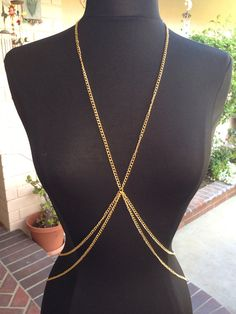 Gold Body Chain Harness Jewelry Necklace Bodychain by GoldSoulMade