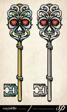 skeleton key traditional tattoo style - idea for my man to go with a heart locket I want