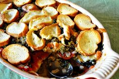 Tomato and kale bread pudding recipe