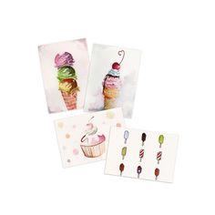 Yummy Ice Cream Postcards by YoyoArtLab on Etsy, $22.00 FREE SHIPPING worldwide!