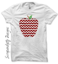 Iron on Apple Shirt PDF - Teacher Iron on Transfer / Girls Apple Chevron T-shirt / Kids Red Chevron DIY / First Day of School Outfit by ScrapendipityDesigns, $2.50
