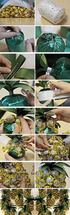 Creative gift wrap ideas- Disguising a champagne or wine bottle to look like a pineapple