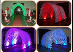 Balloon arch tunnel with LED lighting. | qlink tunnel of arches | balloon entrance arch