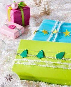 String tiny paper cutouts of Christmas trees and stars on metallic thread to give Christmas packages a special tie-up. More gift wrap ideas: http://www.midwestliving.com/holidays/christmas/easy-christmas-gift-wrap-ideas/page/9/0