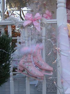 pink ice skates winter decor