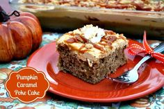 Mommy's Kitchen: Easy Pumpkin Caramel Poke Cake. The perfect Fall dessert and a nice change from pumpkin pie! This cake is easy peasy to make :) #EverydayMarzetti