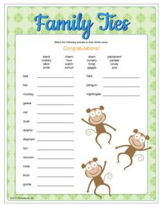 Family Ties - Baby Shower game